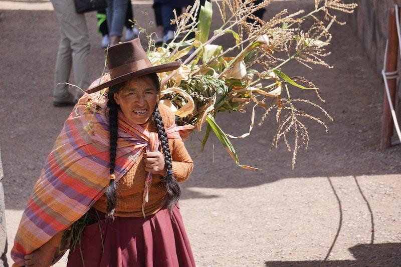 Peruanische Bäuerin in den Anden