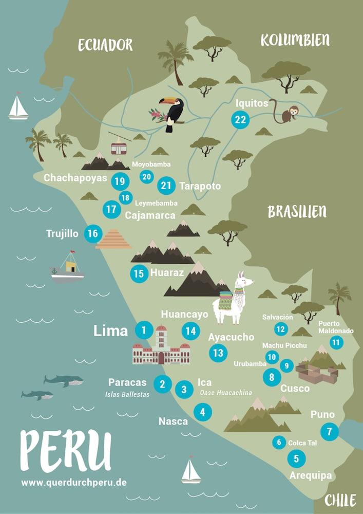 Peru Karte mit allen Orten und Sehenswürdigkeiten